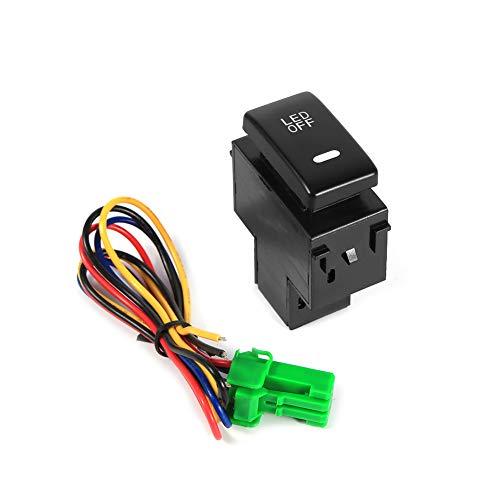 Interruptor de luz para automóvil DC 12-24V Negro ABS Cobre Interruptor de luz antiniebla para automóvil Interruptor de luces de circulación diurna Universalmente adecuado para muchas aplicaciones de