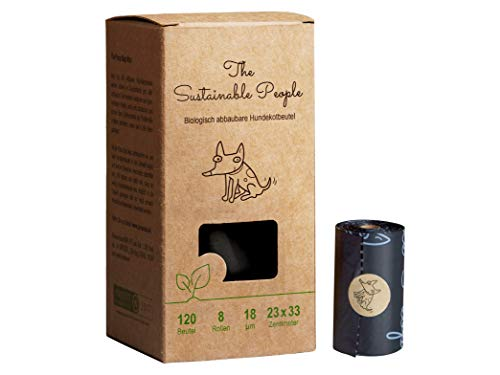 TSP Bio-abbaubare Hundekotbeutel - OK compost HOME zertifiziert - 100% heim-kompostierbar und biologisch abbaubar - Gross, Extra Dick (18µm)