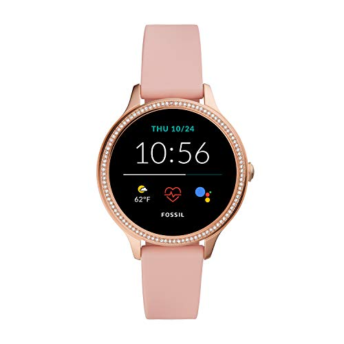 Fossil 42mm Gen 5E Stainless Steel and Silicone Touchscreen Smart Watch, Color: Rose Gold, Pink (Model: FTW6066)