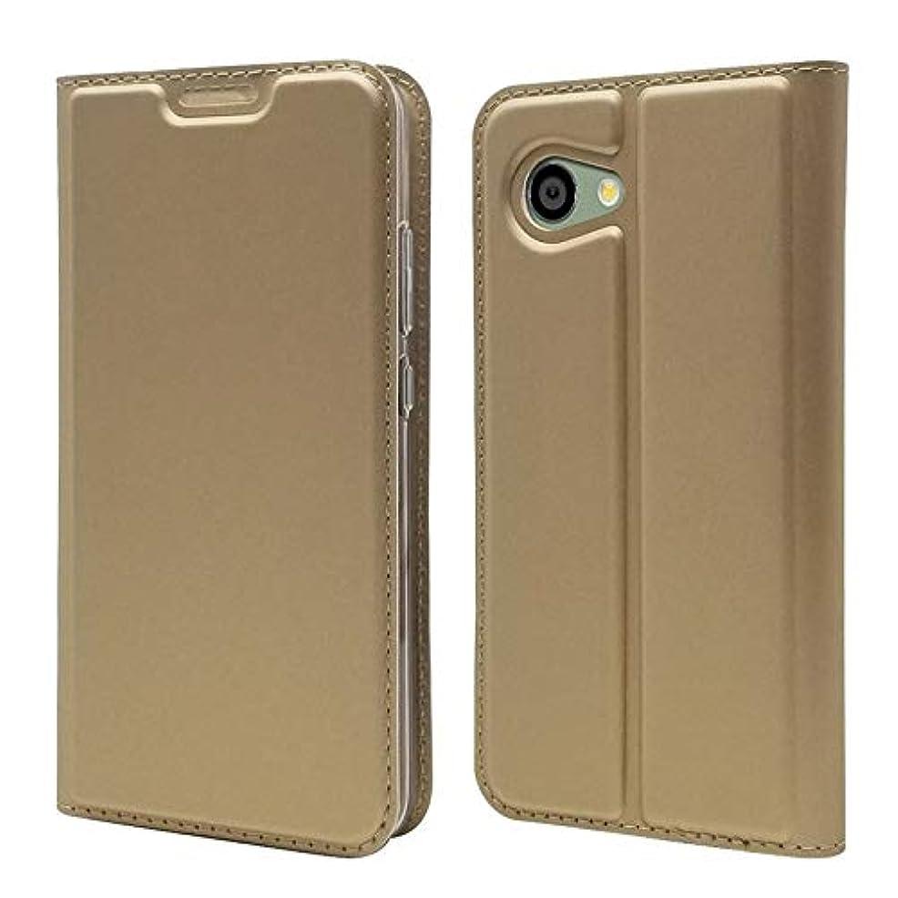 踏みつけ容赦ない飼い慣らすHJYJC- シャープアクオスR2コンパクト用財布ケース、ホルダー付きスリムフィットプレミアムレザーフォリオキックスタンドケース[カードスロット] [Bulit-in Magnetic Closure]シャープアクオスR2コンパクト用 (Color : Gold)