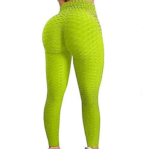 N /C Women's High Waist Tummy Control Yoga Pants Butt Lift Textured Workout Tights Sport Running Leggings (Green, S)