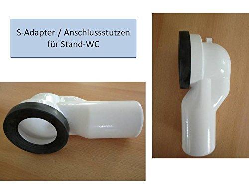 WC Anschluss Stutzen Bogen 90 Grad, für Stand WC in weiss weiß, S-Adapter