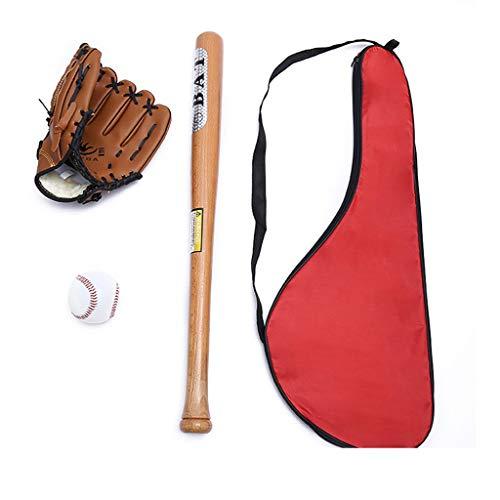 WMLWML Set de béisbol, al Aire Libre Jóvenes Profesionales Bate de béisbol y Softbol de Bola y béisbol Guantes de Entrenamiento del Ejercicio (con Bolsa) (Color : Locust Wood)