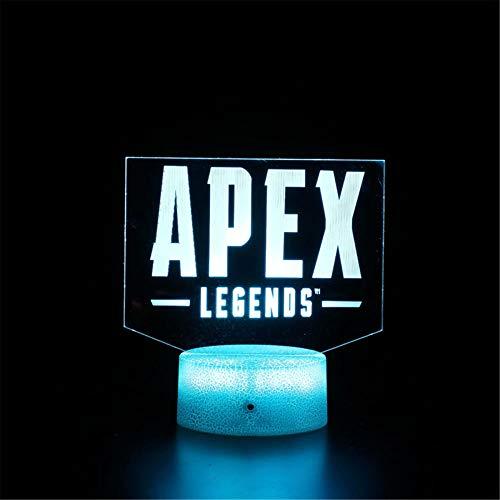 Apex Legends D Lámpara de ilusión 3D, luz nocturna 3D para niños, 16 colores, control táctil regulable con base de grieta+mando a distancia para niños y niñas regalos