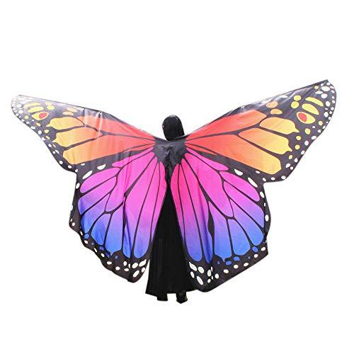 WOZOW Damen Kostümzubehör Zubehör Schmetterling Flügel Kostüm Nymphe Pixie Umhang Faschingkostüme Schals Poncho (Mehrfarbig 2)
