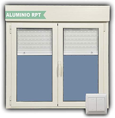 Ventana Aluminio RPT 45 Practicable Oscilobatiente 1200X1155 2 hojas con persiana motorizada, lamas de aluminio y cristal climalit