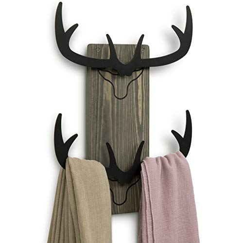 MyGift Wall Mounted Deer Antler Black Metal Cutout Design Decorative Entryway Hat Rack with Vintage Gray Wood Backing