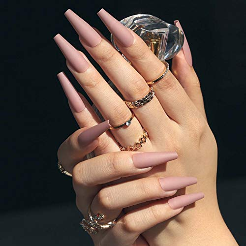 Sethain Matt Rein Falsche Nägel Blau Ballerina Falsche Fingernägel Lange Vollständige Abdeckung Drücken Sie auf Nagel für Frauen und Mädchen (Nackt)