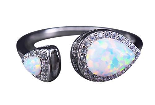NicoWerk Anillo de plata de ley 925 con ópalo para mujer, diseño de gota con piedra preciosa blanca, circonita multicolor, ajustable, abierto SRI565