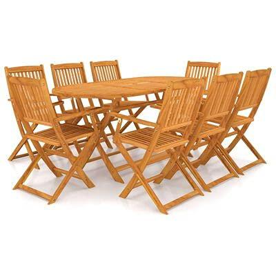 GOTOTOP Juego de comedor de exterior de 9 piezas plegable de madera de acacia maciza, 1 mesa con orificio para parasol + 8 sillones, mesa de picnic con 8 sillas para jardín, patio o balcón