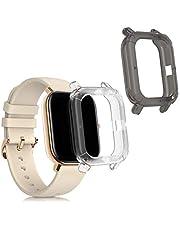 kwmobile 2x hoes compatibel met Huami Amazfit GTS - Hoesje voor fitnesstracker in zwart/transparant/transparant