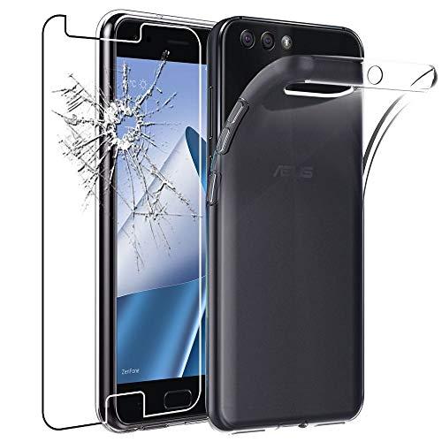 ebestStar - kompatibel mit Asus Zenfone 4 Hülle ZE554KL Handyhülle [Ultra Dünn], Durchsichtige Klar Flex Silikon Schutzhülle, Transparent + Panzerglas Schutzfolie [Phone: 155.4 x 75.2 x 7.7mm, 5.5'']