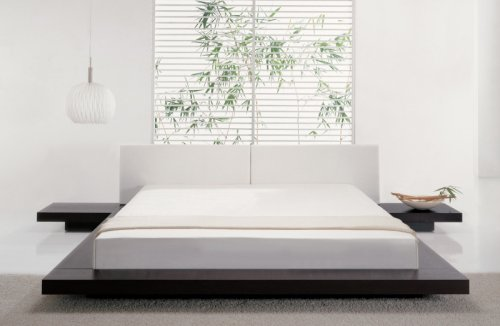 Hot Sale Asian Inspired Platform Bed in Wenge Finish (Queen)