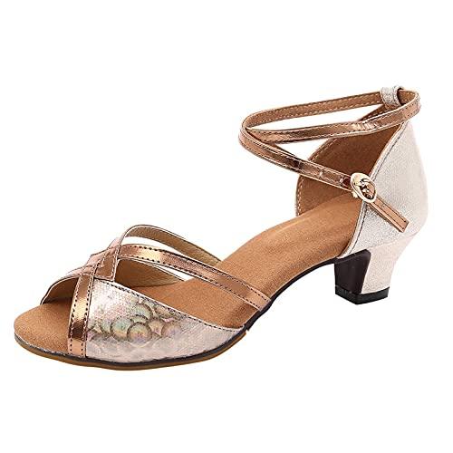 Damen Sandalen Riemchenpumps Riemchensandale Latin Tanzschuhe Pumps High HeelsFischmaul Peeptoe Sommer Sandals Freizeitschuhe(2-Gold/Rose Gold,39) 2088