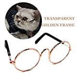 Stock Show Funny Cute Dog Cat Retro Fashion Sunglasses Mosaic Glasses Transparent Eye-wear Protection Puppy Cat Teacher Bachelor Cosplay Glasses Pet Photos Props for Small Dog Cat, Golden