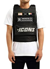 "Adjustable Velcro Straps 100% Official Hudson Outerwear Product Velcro Patches Included Fashion Wear ""NOT-REAL"" Bullet Proof Vest One Size Fits Most (Up to XL size) Durable Nylon Canvas Hook and Loop Closure."
