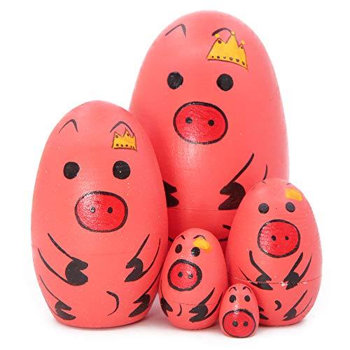 Winterworm Set de 5 lindos huevos en forma de animal con forma de cerdo rosa con corona imperial apilable juguete hecho a mano muñeca rusa para niños juguete cumpleaños