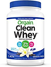 Orgain Grass Fed Clean Whey Protein Powder, Vanilla Bean - Low Net Carbs, Gluten Free, Soy Free, No Sugar Added, Kosher, Non-GMO, 1.82 Lb (Packaging May Vary)