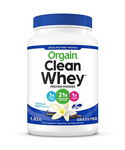 Orgain Grass Fed Clean Whey Protein Powder, Vanilla Bean - Low Net Carbs, Gluten Free, Soy Free, No...