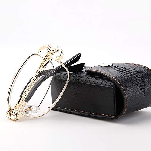 Leesbril (drie functies), metalen frame, inklapbaar, compact, uniseks, voor leeszakje, incl.