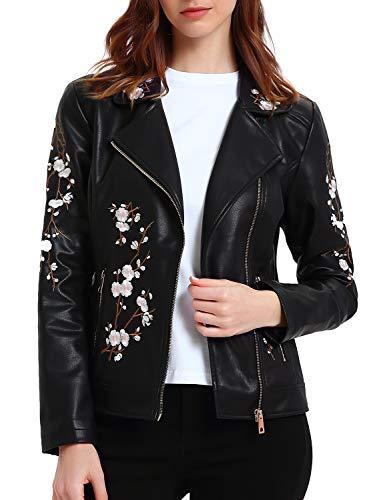 Geschallino Damen PU Lederjacke, Bikerjacke mit Reißverschluss, Blumen Kurze Jacke für Herbst, Frühling, M