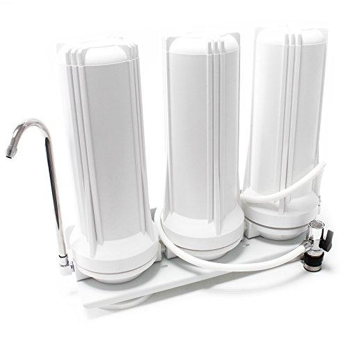 TR203 3-stufiger Counter Top Wasserfilter 5µ Feinfilter Filter 5µ Aktivkohle Blockfilter & Granulat