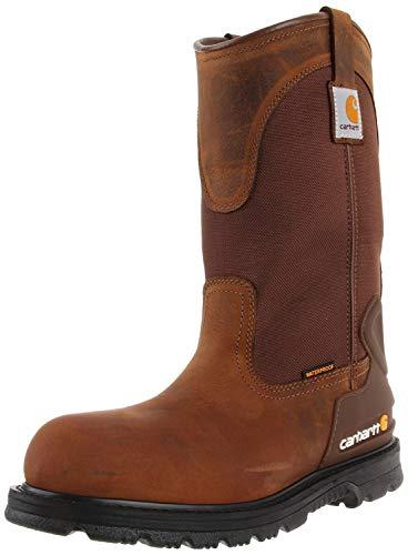 "Carhartt Men's 11"" Wellington Waterproof Steel Toe Leather Pull-On Work Boot CMP1200 Construction Shoe, Bison Brown, 12 Wide"