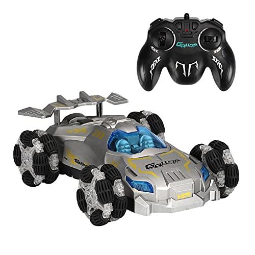 '2.4GHz Racing,Coche de control remoto de alta velocidad Off Road, coche de pulverización de deriva rodante de 360° con luz LED, para niños niñas' (Plata)