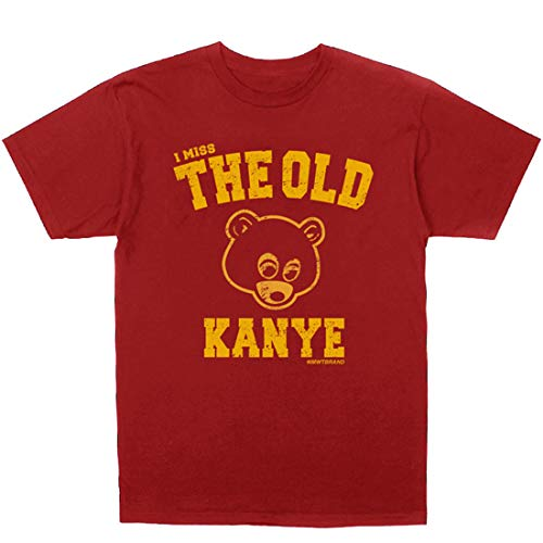 InMyWhiteTee Kanye West I Miss The Old Kanye College Dropout T-Shirt + Hip-Hop Stickers,Red,X-Large