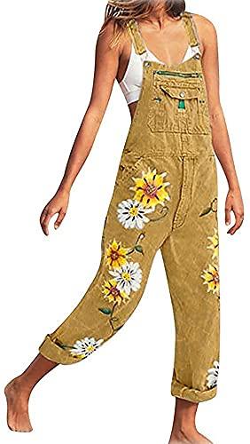 ORANDESIGNE Jeanslatzhose Damen Latzhose Jeans Lange Hose Denim Overall Jumpsuit Playsuit Jeans Vintage Loose Fit Hoseanzug Romper B Khaki X-Large