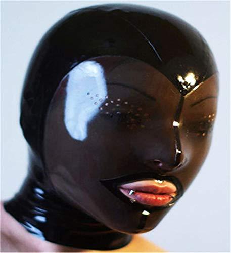 Erwachsene Bondage M-ASK 100% Latex SM Fetisch Full Face eng anliegender Zipper Rollenspiele Erotik Einschränkungen (Schwarz) S