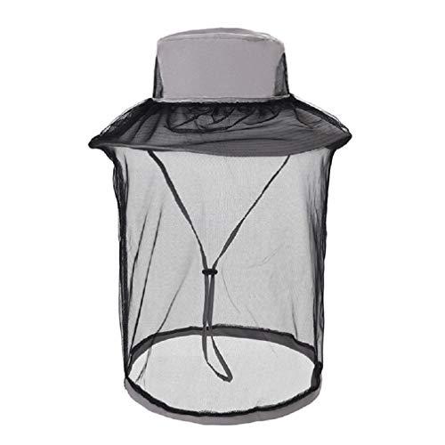 Mosquito Head Net Hat, Safari Hat Sun Hat Fishing Hats with Hidden Net (Light Grey)