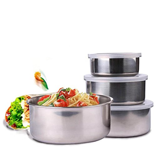 LtrottedJ 5 Pieces of Stainless Steel Durable, Firm and Convenient, Home Hotel Kitchen Food Container Storage Mixing Bowl Set