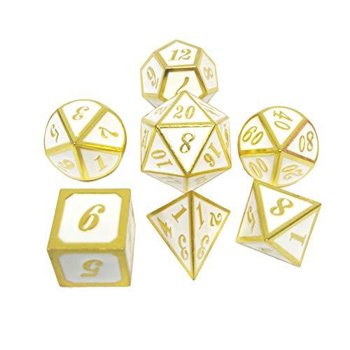 Sunnay 7 Stück Metall Würfel DND Polyhedral Solid Metall D&D Würfel Nickel Set mit Zahlen,Einsteigerset A18 Stil