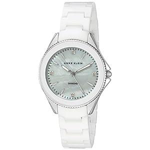 Anne Klein para mujer AK/2391wtsv diamond-accented y plateado pulsera de