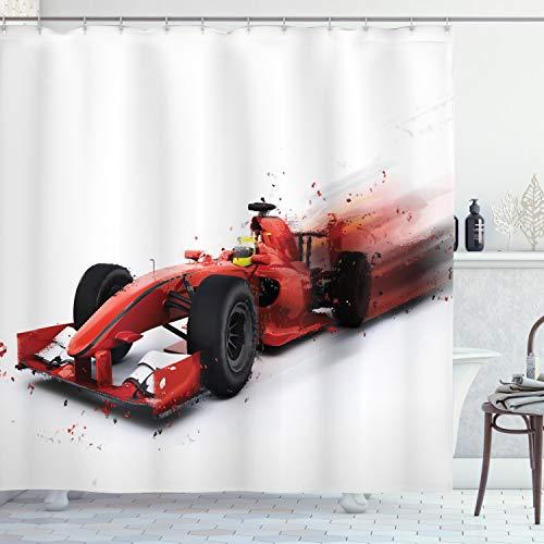 ABAKUHAUS Autos Duschvorhang, Formel 1 Autorennen, mit 12 Ringe Set Wasserdicht Stielvoll Modern Farbfest & Schimmel Resistent, 175x180 cm, Schwarz Rot