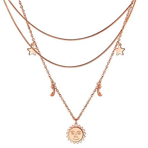 dsanbo Multi-row necklace women rose gold star moon sun pendant stainless steel choker chain jewellery girls