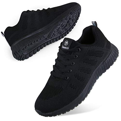 Youecci Zapatillas de Deportivos de Running para Mujer Deportivo de Exterior Interior Gimnasia Ligero Sneakers Fitness Atlético Caminar Zapatos Transpirable Negro 40 EU
