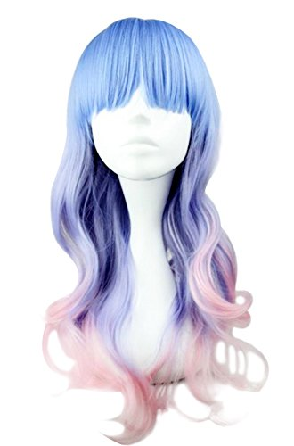 Beauty Smooth Hair Frauen Lang Wellig Harajuku Style Cosplay Peruecke (Hellblau/Helles Lila/Pink) NW20-2
