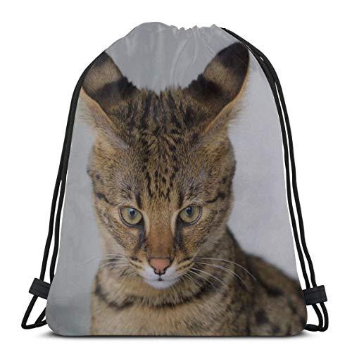 Savannah Cat Closeup Felino Híbrido Serval Doméstico Mujer Bolso con cordón Maquillaje Bolso con cordón Gimnasios Saco