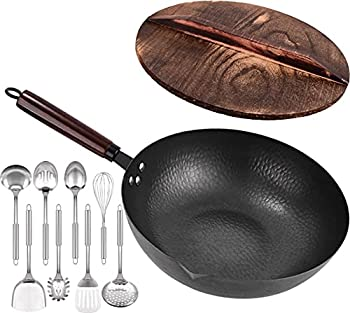11-Pieces Leidawn Woks and Stir Fry Pans with Wooden Handle and Lid
