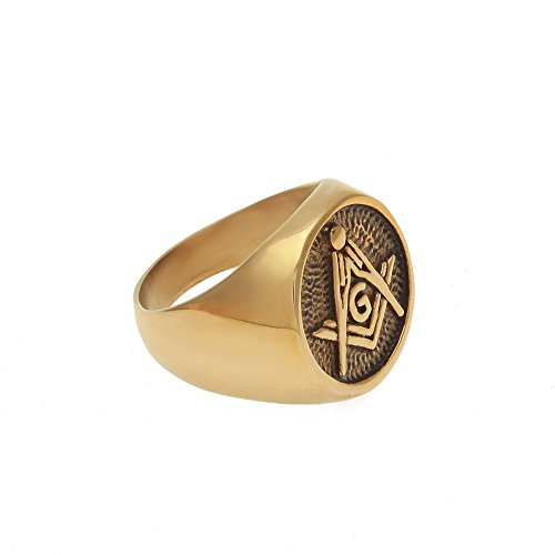 MCSAYS Hip Hop Ring Masonic Free-Mason Logo Rings Stainless Steel Gold Fashion Jewelry For Men Women Gifts (Q)