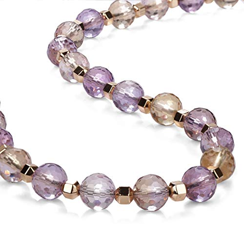Necklace Ametrine Stone - Faceted Round Ametrine Gems Necklace - Silver Necklace Ametrine' rose gold plated Natural Silver Necklace