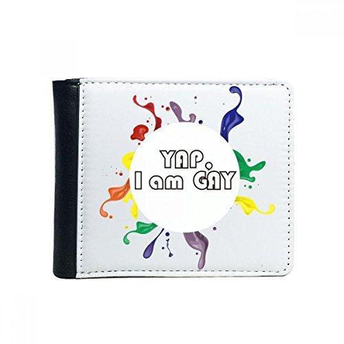 DIYthinker Bandera del Arco Iris LGBT Yap I Am tirón Gay Plegable de imitación de la Carpeta de Cuero de múltiples Funciones de la Tarjeta de Regalo Monedero