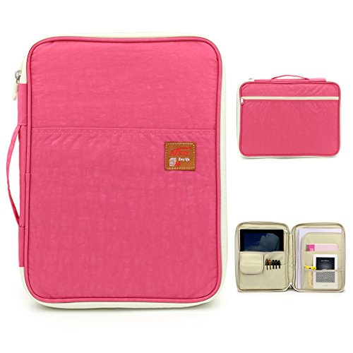 BTSKY Multi-Functional A4 Document Bags Portfolio Organizer-Waterproof Travel Pouch Zippered Case for Ipads, Notebooks, Pens, Documents (Pink)