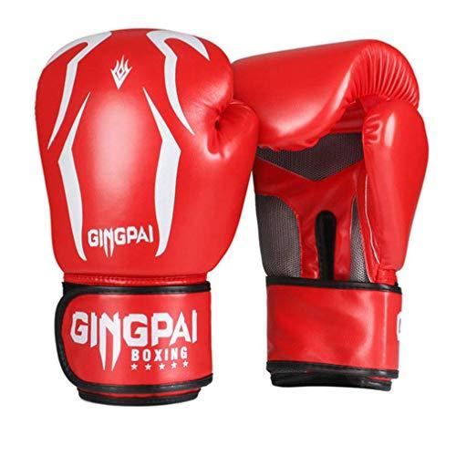 XYXZ Guantes De Boxeo MMA Adultos Niños Mujeres Hombres Guantes De Boxeo PU Cuero MMA Muay Thai Mitones Sanda Gym Equipments, Rojo, 8Oz