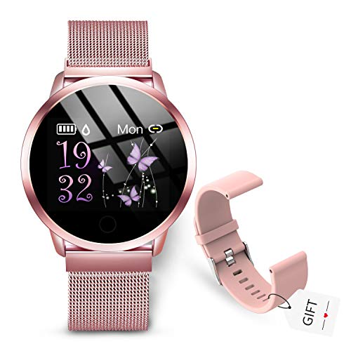 GOKOO Smartwatch Mujer Rosa Reloj Inteligente Fitness Tracker Correa de acero Mujer Pulsómetros Monitor de Sueño Reloj Deportivo Compatible con Android IOS