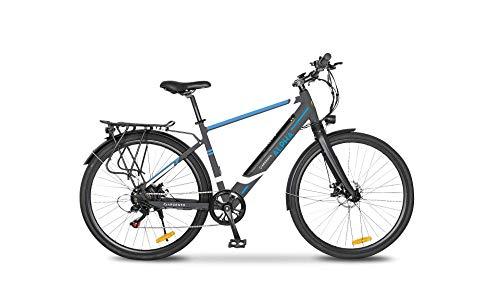 Argento Alpha - Bicicleta eléctrica de Ciudad para Hombre, Gris y Azul, Talla única