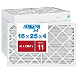 Aerostar Allergen & Pet Dander 16x25x4 MERV 11 Pleated Air Filter, Made in the USA, (Actual Size: 15 1/2'x24 1/2'x3 3/4'), 6-Pack