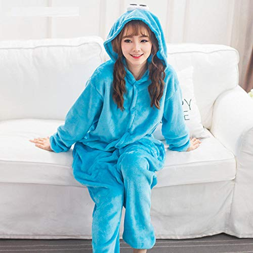 M & A Schlafanzug Monster Kigurumi Onesie Sesamstraße Pyjamas Cartoon Pyjamas Overall Erwachsene Nachtwäsche Cosplay Halloween Kostüm Anzüge-Blau_M.